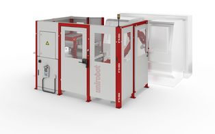 unirobot 2TB pro - An automation cell with conveyor belt system for workpiece feed and removal.