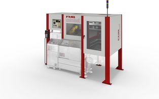 unirobot PORTAL P - A compact automation cell in the form of an overhead installation above a lathe, with drawer system for taking 2, 3, 4 or 5 workpiece carriers in formats of up to max. 600 x 400 mm.