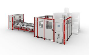 unirobot WTUF pro - An automation cell with circulating conveyor workpiece carriers in formats of up to max. 800 x 500 mm.